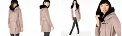 Calvin Klein Belted Asymmetrical Coat with Faux-Fur Hood