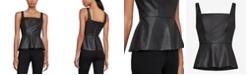 BCBGMAXAZRIA Faux-Leather Peplum Top