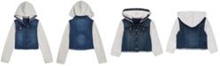 Tommy Hilfiger Baby Girls Mixed-Media Hooded Denim & Fleece Jacket