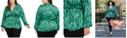 INC International Concepts INC Plus Size Animal-Print Wrap Top, Created for Macy's