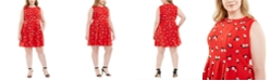 Anne Klein Plus Size Chatterly Rose Printed Fit & Flare Dress