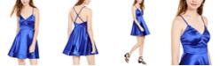 Teeze Me Juniors' Satin Cross-Back Dress