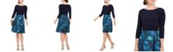 Jessica Howard Solid & Floral Jacquard Fit & Flare Dress