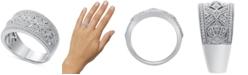 Macy's Diamond Scroll-Pattern Statement Ring (1/5 ct. t.w.) in Sterling Silver