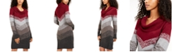 BCX Juniors' Cowlneck Chevron Sweater Dress