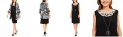 R & M Richards Petite Necklace Dress & Printed Bell-Sleeve Jacket