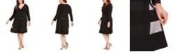 R & M Richards Plus Size Surplice Illusion-Stripe Dress