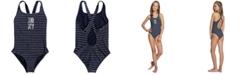 Roxy Big Girls 1-Pc. Short Sporty Striped Swimsuit