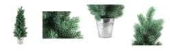 "Northlight 25"" Iced Mini Pine Artificial Christmas Tree in Galvanized Bucket"