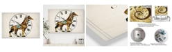 "Designart Circus Animals Giraffe Large Cottage 3 Panels Wall Clock - 23"" x 23"" x 1"""