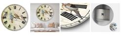 "Designart Birds Gathered On Wire Paris II Oversized Cottage Wall Clock - 36"" x 28"" x 1"""
