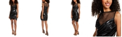 SHO Ruched Faux-Leather Bodycon Dress