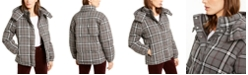 Vince Camuto Hooded Plaid Jacket