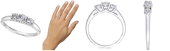 Macy's TruMiracle® Diamond Three Stone Engagement Ring (1/4 ct. t.w.) in 14k White Gold