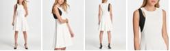 DKNY Two Tone Cutout Fit & Flare Dress