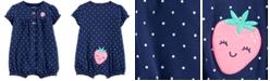 Carter's Baby Girls Dot-Print Strawberry Cotton Romper