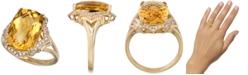 Macy's Citrine (8 ct. t.w.) & Diamond (1/3 ct. t.w.) Statement Ring in 14k Gold