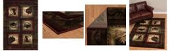 "Asbury Looms Designer Contours John Q. Bears Wolf 512 27234 28C Burgundy 2'7"" x 7'4"" Runner Rug"