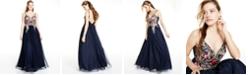 Blondie Nites Juniors' Embellished Embroidered Mesh Gown