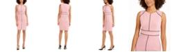 Nine West Contrast-Piped Jewel-Neck Sheath Dress