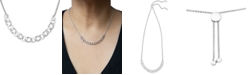 Macy's Diamond Chain Link Adjustable Bolo Necklace (1/10 ct. t.w.) in Sterling Silver