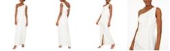 Eliza J Draped One-Shoulder Gown