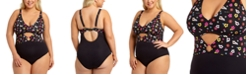 California Waves Trendy Plus Size Graceful Garden Printed Peekaboo Ring One-Piece Swimsuit, Created for Macy's