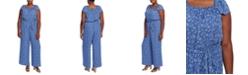 CeCe Plus Size Printed Square-Neck Jumpsuit