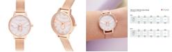 Olivia Burton Women's Lucky Bee Rose Gold-Tone Stainless Steel Mesh Bracelet Watch 30mm
