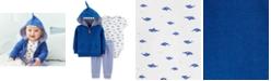Carter's Baby Boys 3-Pc. Cotton Shark Hoodie, Bodysuit & Pants Set