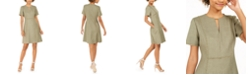 Elie Tahari Ariel Fringe-Trim Split-Neck Dress