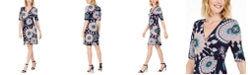 Connected Printed Jersey Faux-Wrap Dress