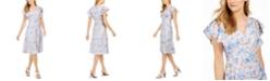 Calvin Klein Flutter-Sleeve Floral Dress