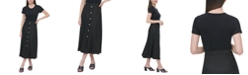 Calvin Klein Buttoned A-Line Linen Skirt