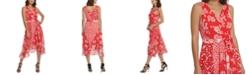 DKNY Mixed Floral Chiffon V-Neck Midi Wrap Dress with Belt