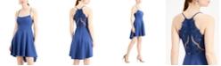 City Studios Juniors' Lace-Back High-Low Dress