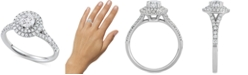 Macy's Diamond Double Halo Engagement Ring (1-1/10 ct. t.w.) in 14k White Gold