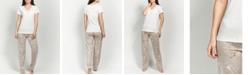 MOOD Pajamas Ultra Soft Tranquil Blossom Lace Neck Short Sleeve Pajama Set