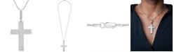 """Macy's Men's Diamond Cross 22"""" Pendant Necklace (2 ct. t.w.)in Sterling Silver"""