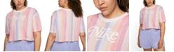 Nike Plus Size Cotton Striped Cropped T-Shirt