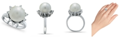 Macy's Imitation Pearl and Cubic Zirconia Halo Ring in Fine Silver Plate