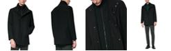 Marc New York Men's Coyle Melton Wool Car Coat with Inset Knit Bib
