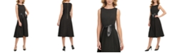 Calvin Klein Faux-Leather-Belt A-Line Dress