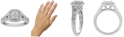 Macy's Diamond Halo Cluster Ring (3/4 ct. t.w.) in 10k White Gold