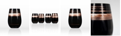 Rolf Glass Cosmo Black And Bronze 16.5Oz Stemless Wine Tumbler - Set Of 4