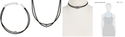 Lucky Brand Silver-Tone Black Leather Crystal Choker Necklace
