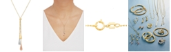 Italian Gold Tri-Gold Lariat Necklace in 14k Gold, White Gold and Rose Gold