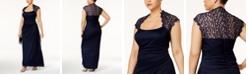 XSCAPE Plus Size Ruched Lace Gown
