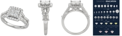 Macy's Diamond Quad Halo Engagement Ring (1-1/2 ct. t.w.) in 14k White Gold