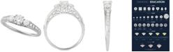 Macy's Diamond Trio Engagement Ring (3/4 ct. t.w.) in 14k White Gold